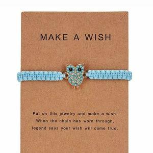 Make a Wish Blue Owl Bracelet Girl Gift